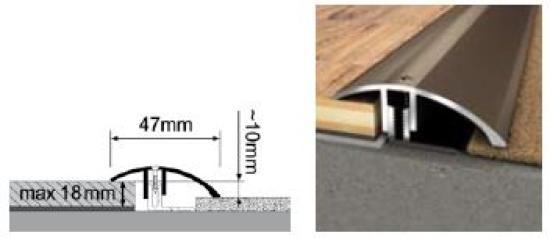 Duo- Anpassungsprofil 1000 x 47 mm | 1,0 - 18 mm Höhe | Edelstahl